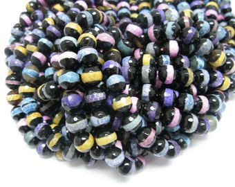 37 pcs10mm round faceted mulit color Tibetan agate beads