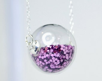 Lavender glitter hand blown glass ball silver necklace
