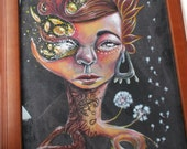A Wrinkle Through The Life Of Daisy Bean, original, framed art piece, woman, acrylic, painting, dandelion
