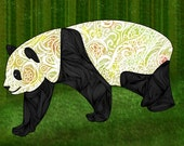 Panda Abstract Animal Giclee Archival Art Print