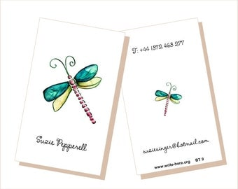 Personalized Luggage Tags Dragonfly emerald lime green Set of 2.