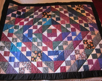 Colorful Square within a Square Quilt (Lap Quilt)-QuiltsbyShirley