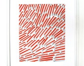 "Screen printed art. geometric shapes.  11"" x 14"". ready to frame. orange red. wall art. printed paper."