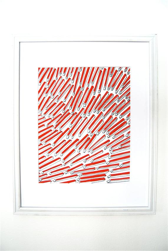 "Screen printed art. geometric shapes.  11"" x 14"". ready to frame. orange red. wall art. printed paper."