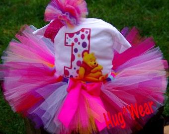 Custom Winnie the Pooh Bear Birthday Shirt + Tutu Outfit (any age)