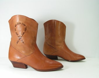 peewee cowboy boots womens 6 M B brown western leather dingo short  inlays
