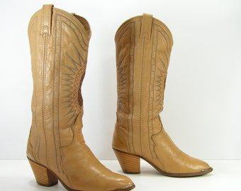 vintage cowboy boots womens 6 M tan acme turquoise brown snake skin inlay western leather cowgirl