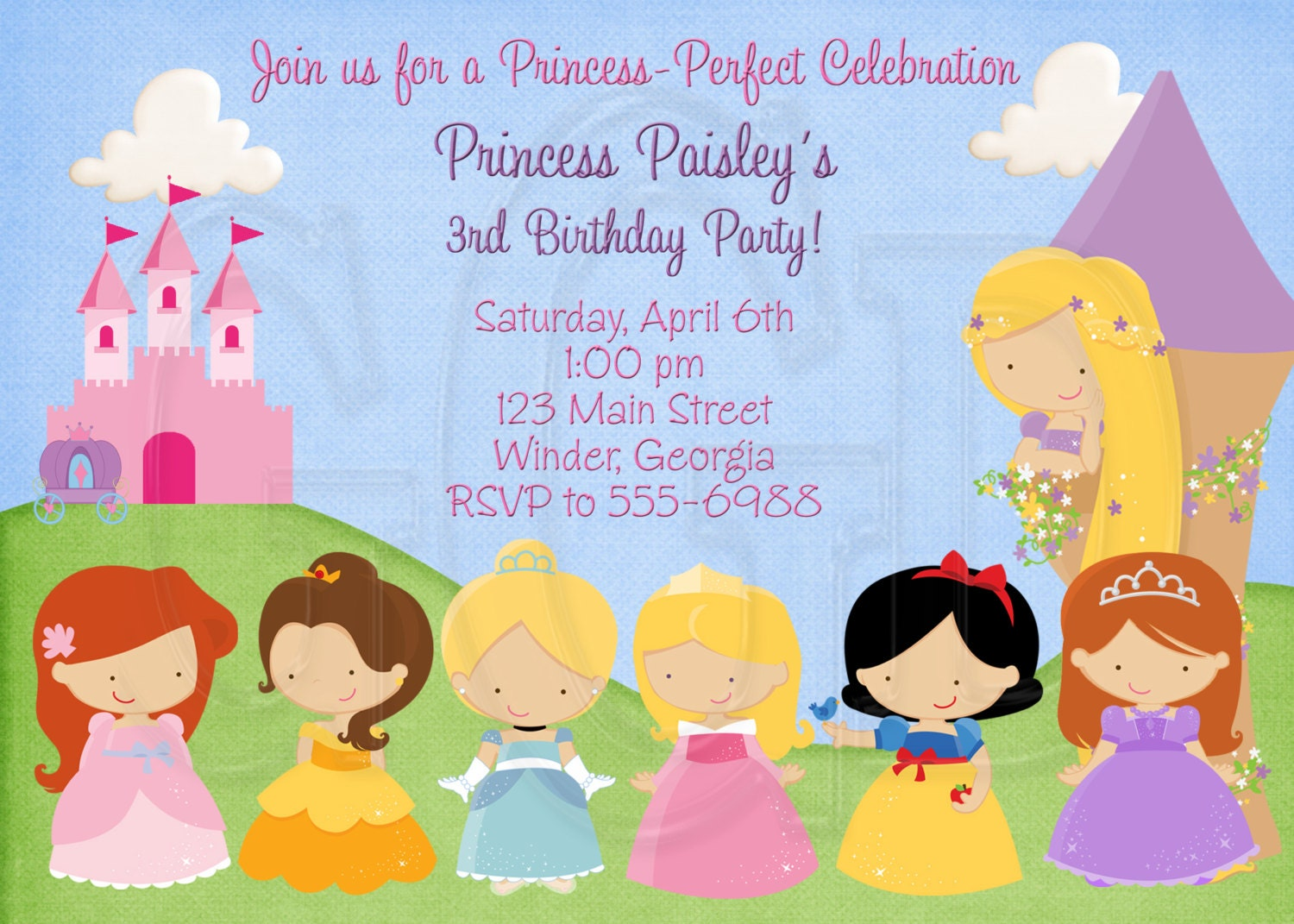disney castle invite princess birthday invitation disney inspired digital file
