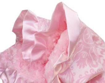 Pink Damask Minky Baby Lovey