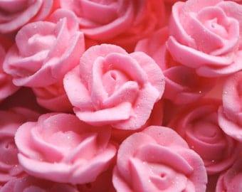 "Royal Icing Roses- Sparkling Pink- 3/4""  (12)"