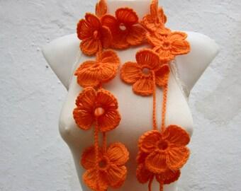 Crochet Scarf Lariat,Flower Lariat Scarf,Lariat Necklace,Women