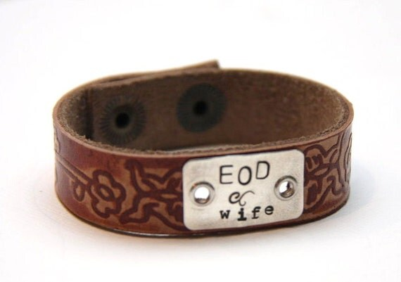 EOD wife Hand Stamped Butterfly Leather Cuff