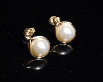 Swarovski pearls in cream (ivory) and 14K gold filled wire wrapped earstuds for bride or bridesmaid