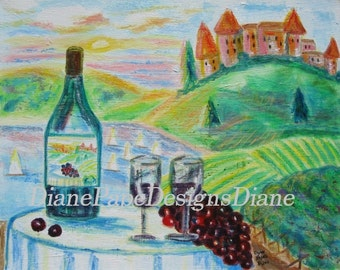 "Chateau Wine 5x7 Signed Print with a 2"" Border - Wine Wall Art - Castle - Bar Decor - European - French Countryside - Wine Bottle - Vineyard"