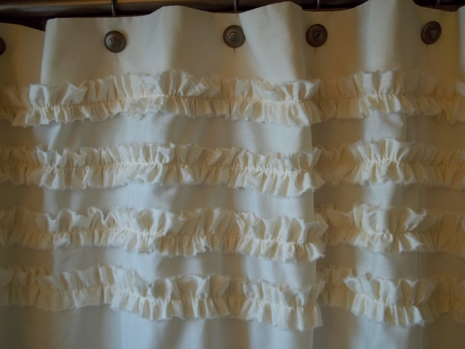Shabby chic cottage beach washed ivory cotton ruffles for Shabby chic rhinestone shower hooks