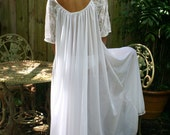 White Bridal Romance Full Swing Nightgown Lace Sleeves Bridal Lingerie Wedding Sleepwear Honeymoon Cruise Spa Holiday