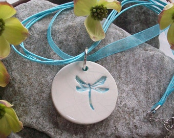 Ceramic Dragonfly Pendant Turquoise white round