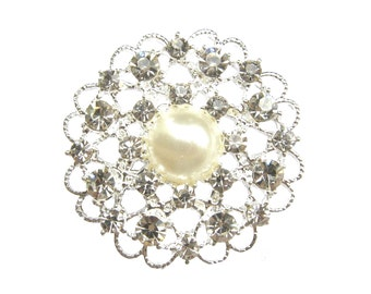 2pcs Pearl Crystal Rhinestone Brooch Component -  for Wedding Brooch Bouquet Hair Accessories BRO-031 (40mm  or 1.6inch)