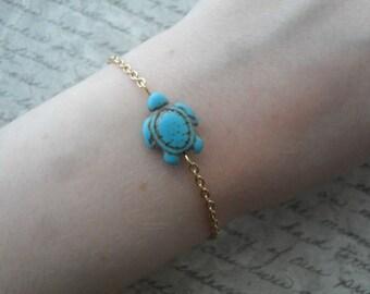 turquoise turtle bracelet on gold - sea turtle bracelet