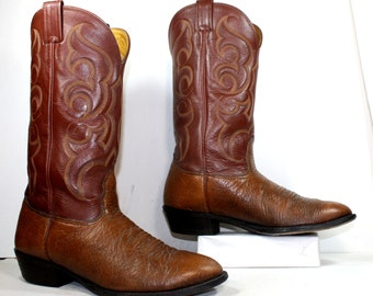 Vintage cowboy cowgirl brown low heel knee high tall western Leather fashion boots 11 EE mens