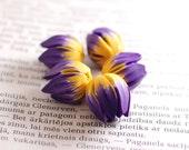 Handmade beads,  polymer clay beads, Tulip beads, Flower beads, focal beads, statement beads - dark purple and bright yellow flower - 5 pcs
