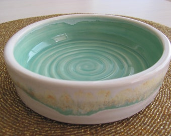 Bowl Ceramic Pottery Cat Dish Stoneware Dish Turquoise Handmade Ceramics
