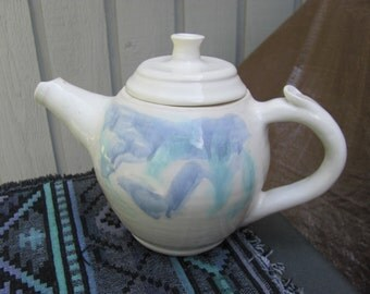 Ceramic Pottery Teapot Handmade Blue and White Porcelain Wheel Thrown gift idea