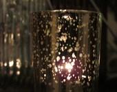 Set of 10 MERCURY GLASS GOLD Speckled Glass Candle Holders Votive Holder Candleholder Tea Light  Vintage Wedding 2.5 Winter Christmas