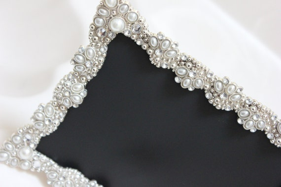 vintage style large jeweled rhinestone frame bling silver diamond chalkboard table number frames ornate picture photo