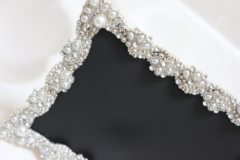 Large Vintage Style Jeweled Rhinestone Frame Bling Silver