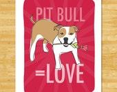 Pit Bull Art Print - Love - Tan and White Pit Bull Gifts Pitbull Dog Art Valentines Day