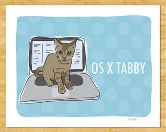 Cat Art Print - OS X Tabby - Cat on a MacBook