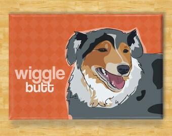 Australian Shepherd Magnet - Wiggle Butt - Blue Merle Australian Shepherd Gifts Refrigerator Fridge Dog Magnets