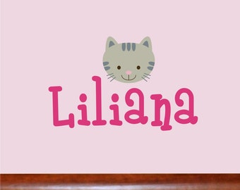 Personalized Name With kitty face, Custom Vinyl wall decals stickers, nursery, kids & teens room, removable decals stickers