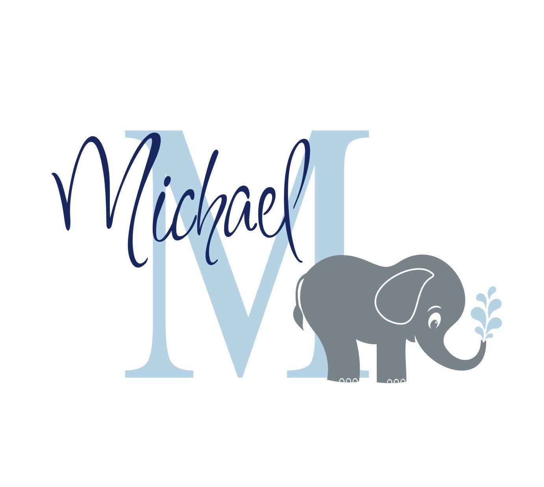 Elephant monogram name vinyl wall decal nursery wall decor zoom amipublicfo Images