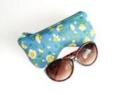 Blue Yellow Floral Curves Eyeglasses Case, Eyeglasses Pouch, Sun Glasses Case