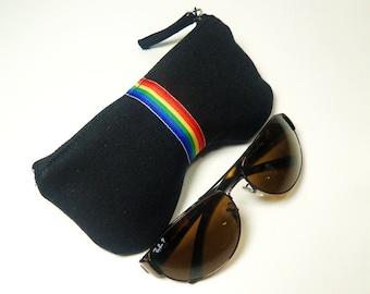 Rainbow Eyeglass, Sunglasses Case in Black, Rainbow Grosgrain Ribbon