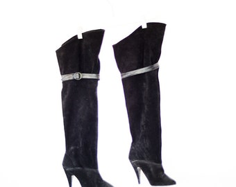 Black Leather Knee High Stilettos// Long Black boots// Black Leather High Boots// Size 7