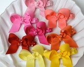 Small Basic Ribbon Hair Bow- Perfect Starter Hair Clip- Nonslip Bow For Babies or Toddlers- Choose Your Colors