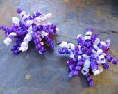 Mini Corker - Mini Corker Hair Bow - Tiny Korker Hairbow - Purple and White (Set of 2)