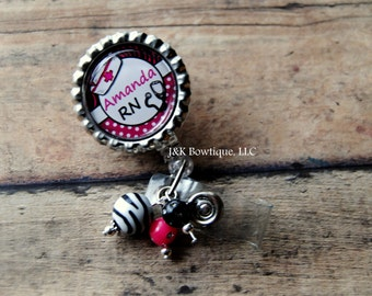 CUSTOM Name Badge reel - Zebra and polka dot prints in Pink