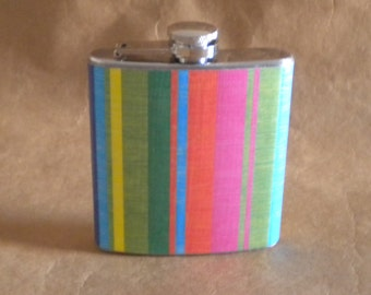 Flask Sale Bright Colored Bold Stripes Print 6 ounce Stainless Steel Girl Gift Flask KR2D 6357