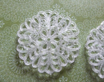 30mm Round White Lucite Lacy Filigree Connector or Pendant - Qty 6