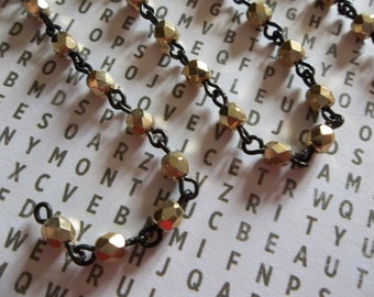 Bead Chain Opaque Shiny Gold 4mm Fire Polished Glass Beads on Jet Black Beaded Chain - Qty 18 Inch strand