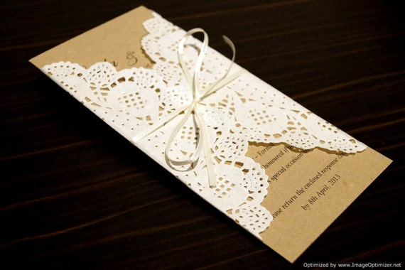 Items Similar To Rustic Chic Wedding Invitation DEPOSIT Paper Doily Doilies Recycled Card On Etsy