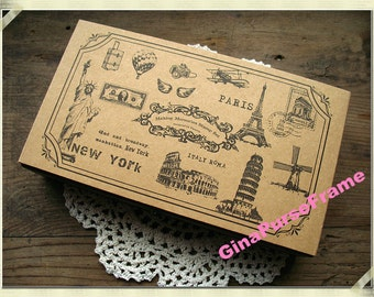 Stamps-- Making Memories Stamps Set // Vintage-style  Wooden rubber Stamps 17pcs with antique wooden box--1set