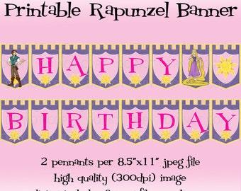 Printable DIY Princess Happy Birthday Banner - bright pink color scheme