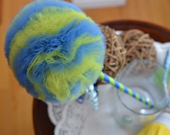 Flower Girl Accessory- Lime Blue Toy Tulle Puff  Magic Wand-Fairy tale Toy