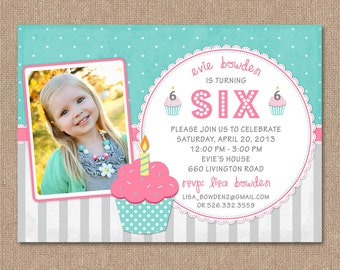 Cupcake birthday invitation printable photo birthday invitation 14 50