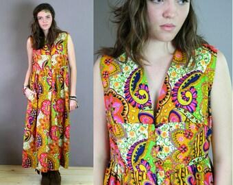 Vintage 1960s Psychedelic Print Jumper Dress